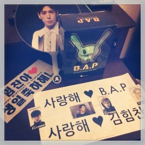 My Goodies & Merch. (Fansigns, photocards, Matoki lightstick, & Himchan picket)